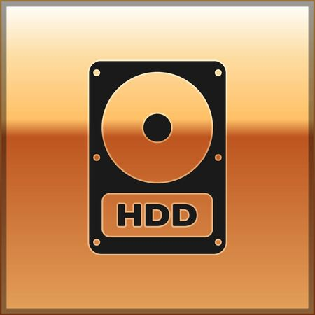 Black Hard disk drive HDD icon isolated on gold background. Vector Illustration