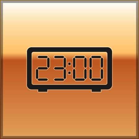 Black Digital alarm clock icon isolated on gold background. Electronic watch alarm clock. Time icon. Vector Illustration  イラスト・ベクター素材