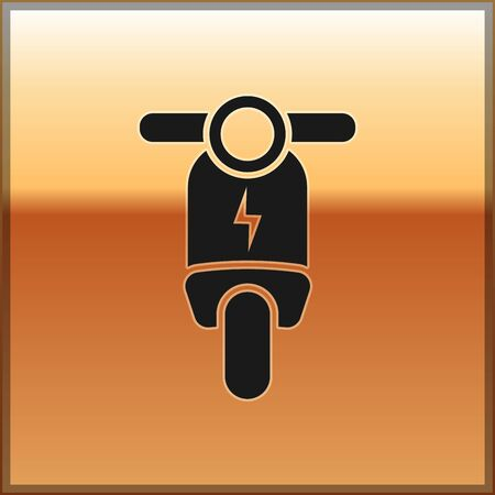 Black Electric scooter icon isolated on gold background. Vector Illustration Illustration