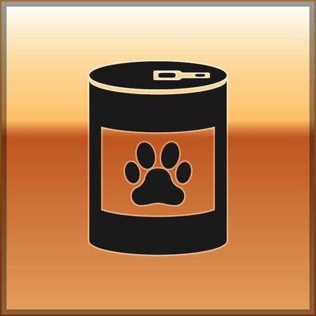Black Canned food icon isolated on gold background. Food for animals. Pet food can. Dog or cat paw print. Vector Illustration