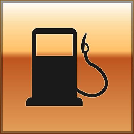 Black Petrol or Gas station icon isolated on gold background. Car fuel symbol. Gasoline pump. Vector Illustration Illustration
