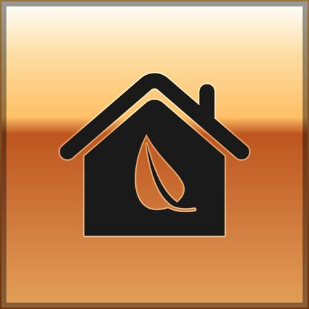Black Eco friendly house icon isolated on gold background. Eco house with leaf. Vector Illustration Vettoriali