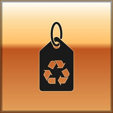 Black Tag with recycle symbol icon isolated on gold background. Banner, label, tag, logo, sticker for eco green. Vector Illustration
