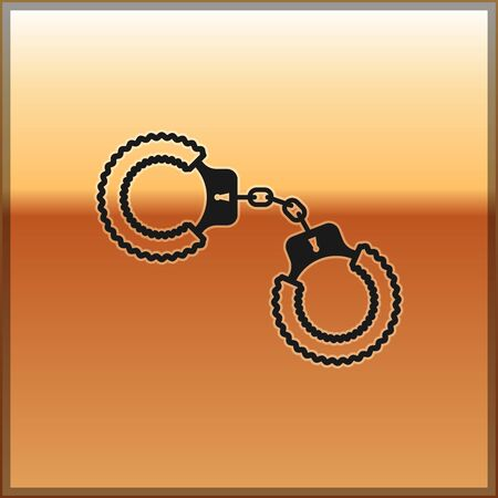 Black Sexy fluffy handcuffs icon isolated on gold background. Handcuffs with fur. Fetish accessory. Sex shop stuff for sadist and masochist. Vector Illustration Illustration