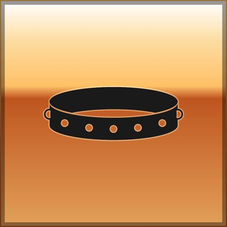 Black Leather fetish collar with metal spikes on surface icon isolated on gold background. Fetish accessory. Sex toy for men and woman.  Vector Illustration Illustration
