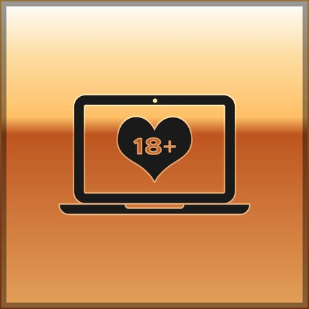 Black Laptop computer with 18 plus content heart icon isolated on gold background. Age restriction symbol. 18 plus content sign. Adult channel. Vector Illustration