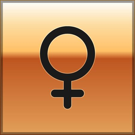 Black Female gender symbol icon isolated on gold background. Venus symbol. The symbol for a female organism or woman. Vector Illustration