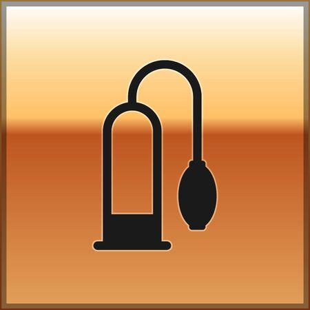 Black Penis pump icon isolated on gold background. Penis enlarger. Sex toy for men. Vacuum pump with a blower to increase the penis. Vector Illustration