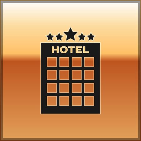 Black Hotel building icon isolated on gold background. Vector Illustration