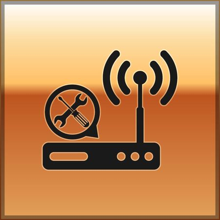 Black Router wi-fi with screwdriver and wrench icon isolated on gold background. Adjusting, service, setting, maintenance, repair, fixing. Vector Illustration
