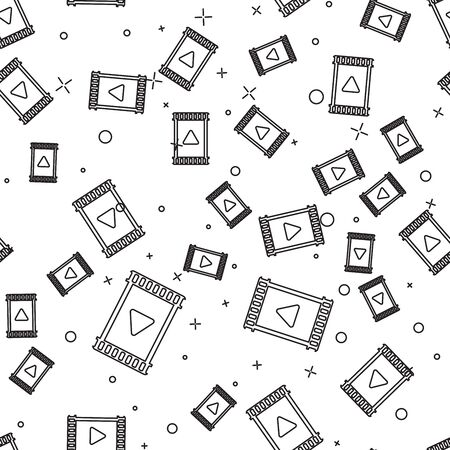 Black Play Video icon isolated seamless pattern on white background. Film strip with play sign. Vector Illustration