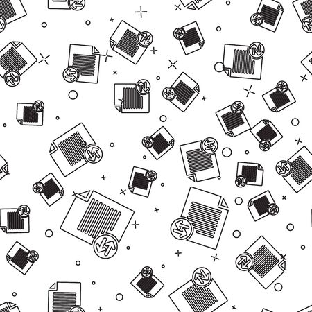 Black Transfer files icon isolated seamless pattern on white background. Copy files, data exchange, backup, PC migration, file sharing concepts. Vector Illustration