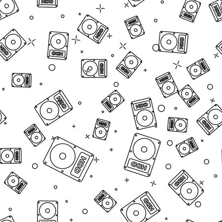 Black Hard disk drive HDD icon isolated seamless pattern on white background. Vector Illustration