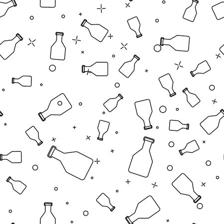 Black Ketchup bottle line icon isolated seamless pattern on white background. Vector Illustration