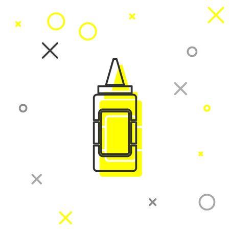 Grey Mustard bottle line icon isolated on white background. Vector Illustration Vector Illustratie