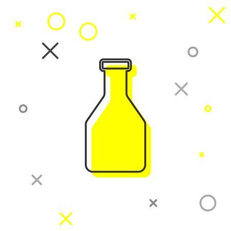 Grey Ketchup bottle line icon isolated on white background. Vector Illustration Illustration