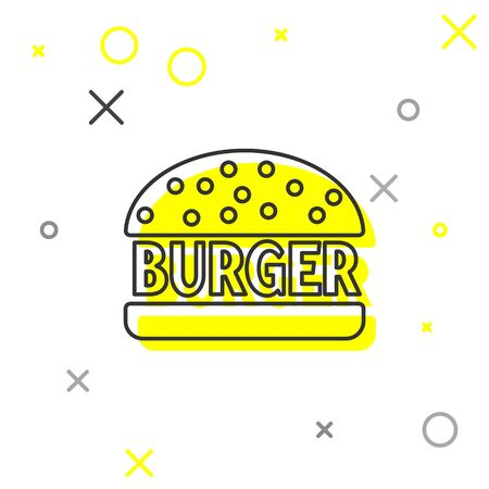 Grey Burger line icon isolated on white background. Hamburger icon. Cheeseburger sandwich sign. Vector Illustration 向量圖像