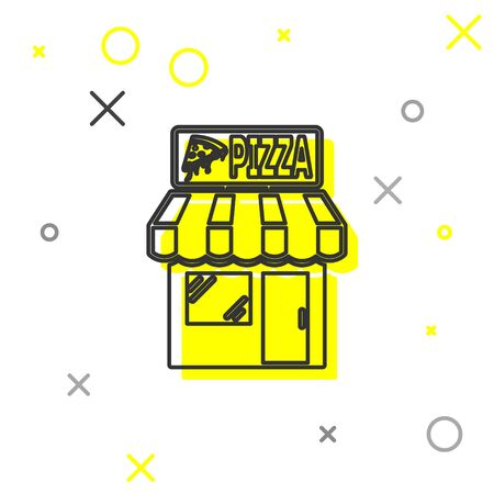 Grey Pizzeria building facade line icon isolated on white background. Fast food pizzeria kiosk. Vector Illustration Vector Illustration