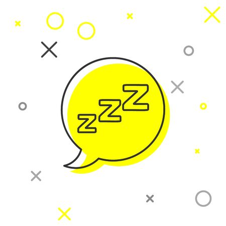 Grey line Speech bubble with snoring icon isolated on white background. Concept of sleeping, insomnia, alarm clock app, deep sleep, awakening. Vector Illustration