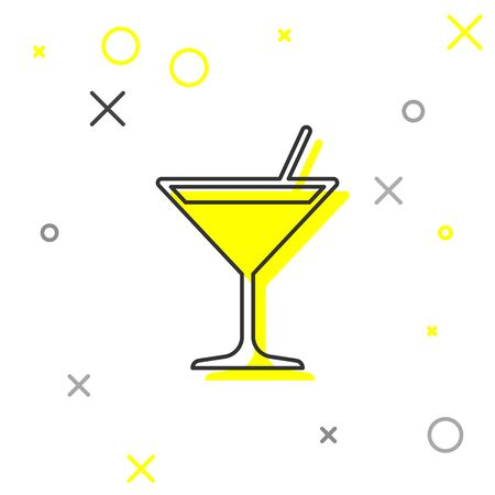 Grey Martini glass line icon isolated on white background. Cocktail icon. Wine glass icon. Vector Illustration 向量圖像
