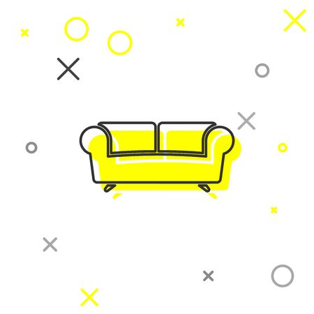 Grey Sofa line icon isolated on white background. Vector Illustration
