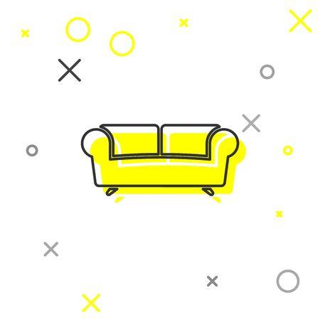 Grey Sofa line icon isolated on white background. Vector Illustration