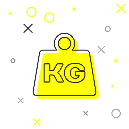 Grey Weight line icon isolated on white background. Kilogram weight block for weight lifting and scale. Mass symbol. Vector Illustration