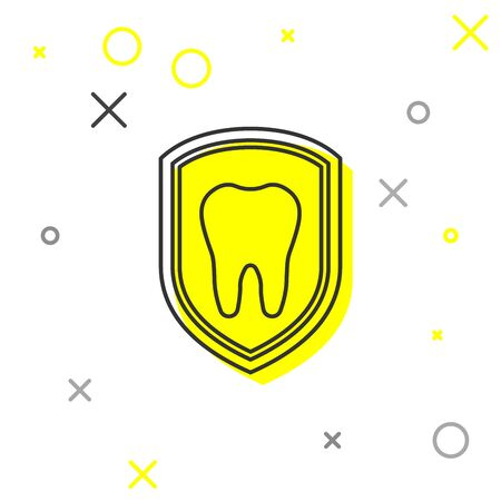Grey Dental protection line icon isolated on white background. Tooth on shield logo icon. Vector Illustration