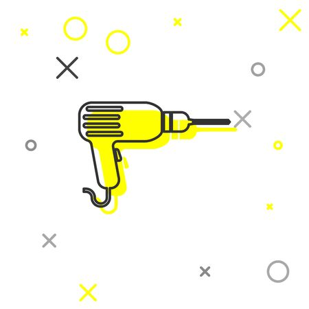 Grey Drill machine line icon isolated on white background. Vector Illustration