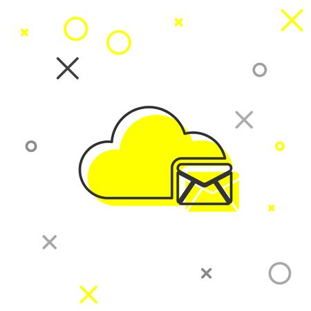 Grey Cloud mail server line icon isolated on white background. Cloud server hosting for email. Online message service. Mailbox sign. Vector Illustration