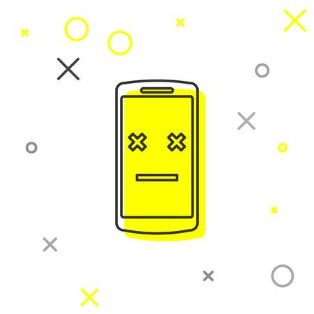 Grey Dead phone line icon isolated on white background. Deceased digital device emoji symbol. Corpse smartphone showing facial emotion. Vector Illustration