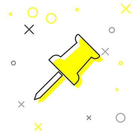 Grey Push pin line icon isolated on white background. Thumbtacks sign. Vector Illustration