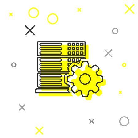 Grey Server setting line icon isolated on white background. Vector Illustration Illusztráció