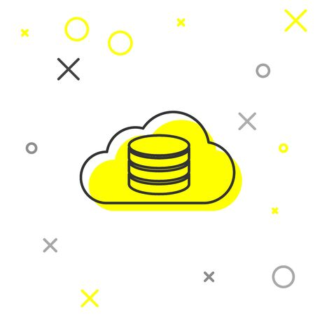 Grey Cloud database line icon isolated on white background. Cloud computing concept. Digital service or app with data transferring. Vector Illustration Illusztráció