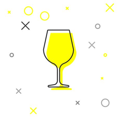 Grey Wine glass line icon isolated on white background. Wineglass sign. Vector Illustration