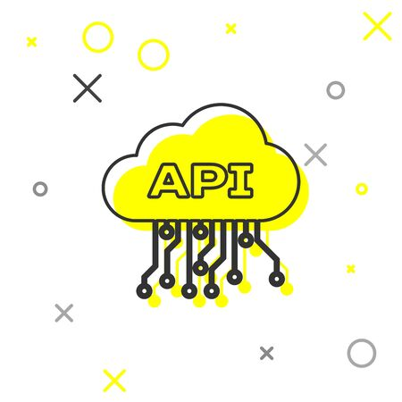Grey Cloud api interface line icon isolated on white background. Application programming interface API technology. Software integration. Vector Illustration Illustration