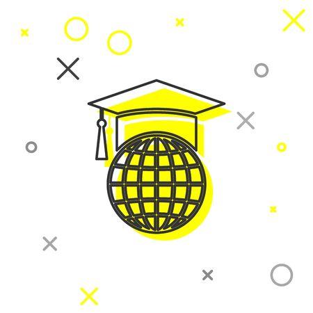 Grey Graduation cap on globe line icon isolated on white background. World education symbol. Online learning or e-learning concept. Vector Illustration Ilustrace