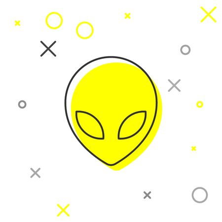 Grey Alien line icon isolated on white background. Extraterrestrial alien face or head symbol. Vector Illustration Illustration