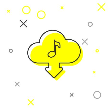 Grey Cloud download music line icon isolated on white background. Music streaming service, sound cloud computing, online media streaming, audio wave. Vector Illustration