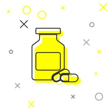 Grey Medicine bottle and pills line icon isolated on white background. Bottle pill sign. Pharmacy design. Vector Illustration