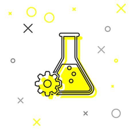 Grey Bioengineering line icon isolated on white background. Element of genetics and bioengineering icon. Biology, molecule, chemical icon. Vector Illustration