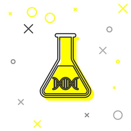 Grey DNA research, search line icon isolated on white background. Genetic engineering, genetics testing, cloning, paternity testing. Vector Illustration