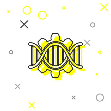 Grey Genetic engineering line icon isolated on white background. DNA analysis, genetics testing, cloning, paternity testing. Vector Illustration