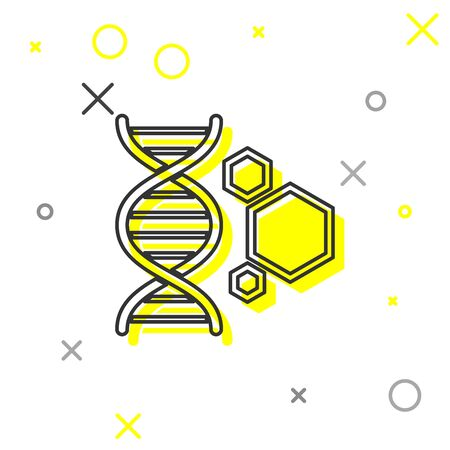 Grey Genetic engineering line icon isolated on white background. DNA analysis, genetics testing, cloning, paternity testing. Vector Illustration