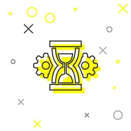 Grey Hourglass and gear line icon isolated on white background. Time Management symbol. Clock and gear icon. Productivity symbol. Vector Illustration