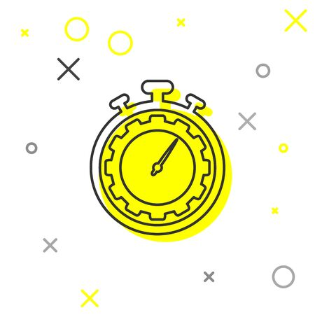 Grey Time Management line icon isolated on white background. Clock and gear sign. Productivity symbol. Vector Illustration
