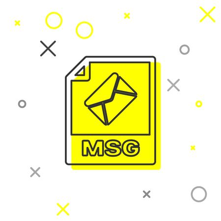 Grey MSG file document icon. Download msg button line icon isolated on white background. MSG file symbol. Vector Illustration