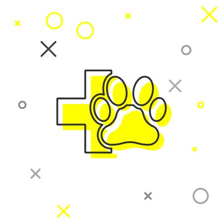 Grey Veterinary clinic symbol line icon isolated on white background. Cross hospital sign. A stylized paw print dog or cat. Pet First Aid sign. Vector Illustration