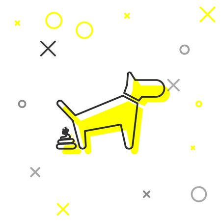 Grey Dog pooping line icon isolated on white background. Dog goes to the toilet. Dog defecates. The concept of place for walking pets. Vector Illustration