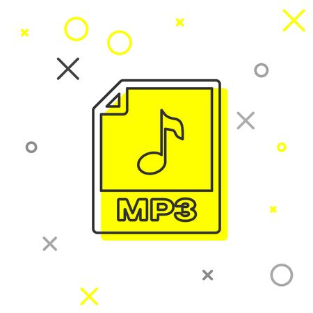 Grey MP3 file document icon. Download mp3 button line icon isolated on white background. Mp3 music format sign. MP3 file symbol. Vector Illustration Vettoriali